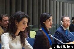 Амаль Клуни и ее клиентка Надя Мурад на Генассамблее ООН, Нью-Йорк, 16 сентября 2016
