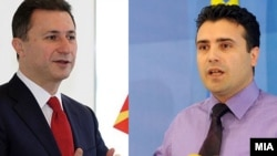 Macedonian Prime Minister Nikola Gruevski (left) and opposition leader Zoran Zaev.