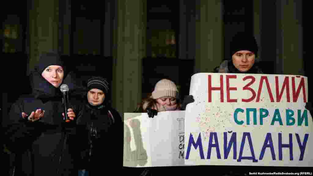 Адвокат Євгенія Закревська, яка голодує на знак протесту із 21 листопада, під час виступу