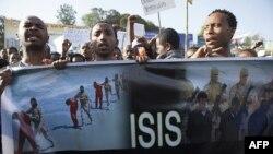 أثيوبيون يتظاهرون ضد تنظيم داعش في أديس ابابا في 22 نيسان 2015 بعد قتله اكثر من 20 مسيحيا اثيوبيا
