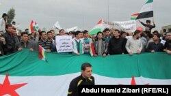 مئات من الكرد السوريين يتظاهرون في أربيل
