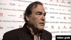U.S. film director Oliver Stone speaks to Radio Farda during the Karlovy Vary film festival.