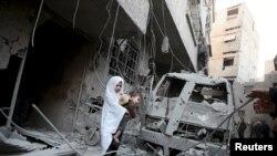Sirija, grad Douma istočno od Damaska, janar 2016.