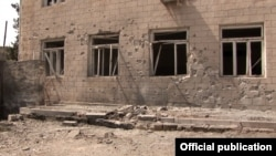 Nagorno Karabakh - A building in the Martakert district damage by shelling from Azerbaijani army positions, April 26, 2016