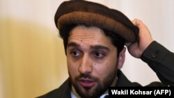 Ahmad Masud speaks at a press conference in Kabul on February 27.