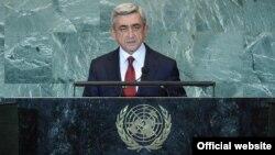 Президент Армении Серж Саргсян выступает на сессии Генеральной Ассамблеи ООН (архив)