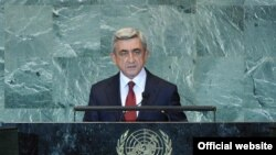 Armenia President Serzh Sarkisian speaks at the UN General Assembly on September 23.