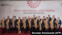 APEC leaders pose for a group photo.