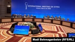 Участники встречи по ситуации в Сирии. Астана, 16 марта 2018 года.