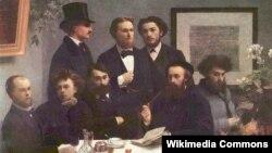 Вэрлен і Рэмбо (крайнія зьлева) на карціне 1872 году