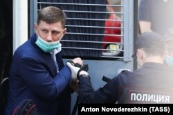 Khabarovsk Governer Sergei Furgal is brought to a court hearing in Moscow on July 10.
