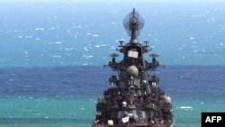 """Венесуэланың Ла-Гуайра портында тұрған Ресейдің атом қаруын тиеген """"Петр Великий"""" крейсері. Венесуэла, 25 қараша 2008 жыл."""