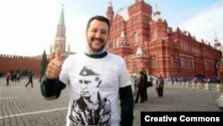 Matteo Salvini takes a photo on Red Square durng his stay in Moscow in 2014.