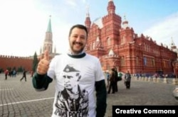 League party leader and Italian Interior Minister Matteo Salvini on a visit to Moscow in 2014.