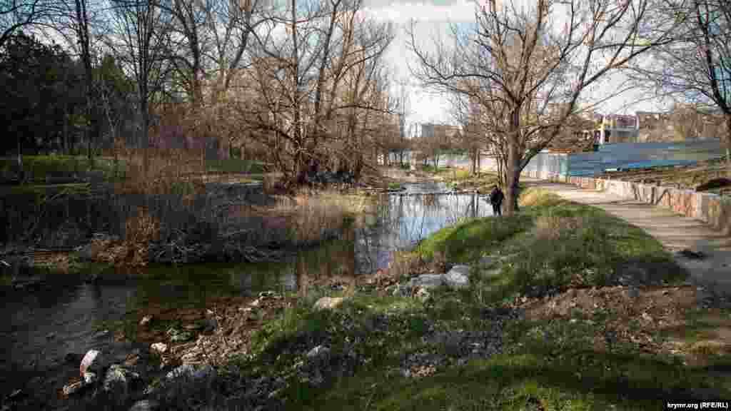 Самая длинная река Крыма – Салгир – проходит через столицу полуострова. На зарослых камышом заплавах вода насобирала кучи мусора