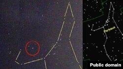 Комета Холмса (в красном кружке) 25 октября 2007 года. В правом верхнем углу -созвездие Персея