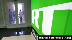 A file photo of the Moscow offices of Russia's state-funded RT network.