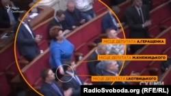 Народний депутат з фракції «Народний фронт» Ірина Єфремова кладе картки у гнізда для голосувань