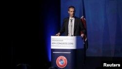 Ալեքսանդր Չեֆերինը ելույթ է ունենում ՈւԵՖԱ-ի կոնգրեսում՝ նախագահի ընտրությունից առաջ, Աթենք, 14-ը սեպտեմբերի, 2016թ․