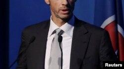 Александер Чеферин, президент Союза европейских футбольных ассоциаций (УЕФА). Афины, 14 сентября 2016 года.