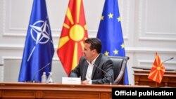 Премиерот Зоран Заев прими делегација бизнисмени и градоначалници од Полска на 20 септември 2021. Премиерот не носи маска за разлика од неговите гости.