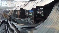 Şəki bazarında yanğının görüntüləri