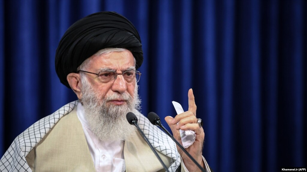 Iranian Supreme Leader Ali Khamenei addresses the nation in a live TV speech on the occasion of Eid al-Adha in Tehran, July 31, 2020