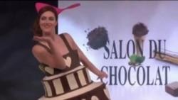 Шоколадная клетка и съедобные платья на показе мод в Париже