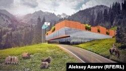 Архитектурная концепция лыжного и SPA-курорта на полпути между «Медеу» и «Шымбулаком», представленная на выставке проектов. Алматы, 6 декабря 2016 года.