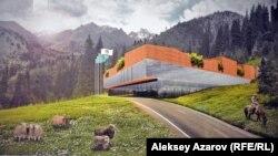 Жобалар көрмесінде ұсынылған Медеу мен Шымбұлақтың ортасындағы шаңғы курортының архитектуралық концепциясы. Алматы, 6 желтоқсан 2016 жыл.