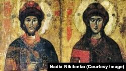 Ікона святих Бориса і Гліба, XIII століття, Київська національна картинна галерея. Україна