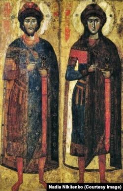 Ікона святих Бориса і Гліба, Київська національна картинна галерея. Ікону науковці датують 13-м століттям