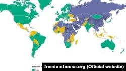 «Ազատությունն աշխարհում» քարտեզը ըստ Freedom House-ի 2015-ի զեկույցի