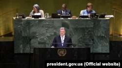 Президент України Петро Порошенко під час виступу на Генеральній асамблеї ООН. Нью-Йорк, 26 вересня 2018 рок