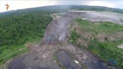 Зсув на сміттєзвалищі під Львовом – відео з дрону