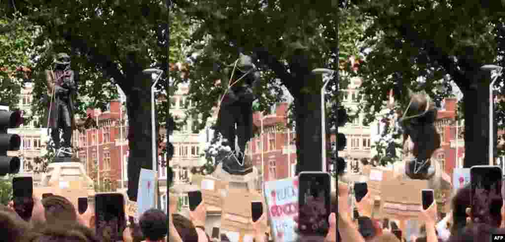 This combination of pictures created on June 07, 2020 shows shows protesters pulling down a statue of slave trader Edward Colston in Bristol, south west England, during a demonstration organised to show solidarity with the Black Lives Matter movement in the wake of the killing of George Floyd, an unarmed black man who died after a police officer knelt on his neck in Minneapolis.