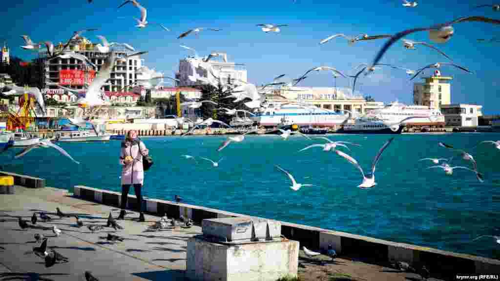 Несмотря на сильный ветер, в городе стояла солнечная погода. Многие ялтинцы в этот день прогуливались на набережной