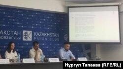 Участники пресс-конференции на тему «16 предложений гражданской инициативы по реформе МВД». Алматы, 29 августа 2018 года.