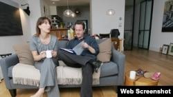 Devid Kemeron xanımı Samanta ilə evində - 2007-ci il