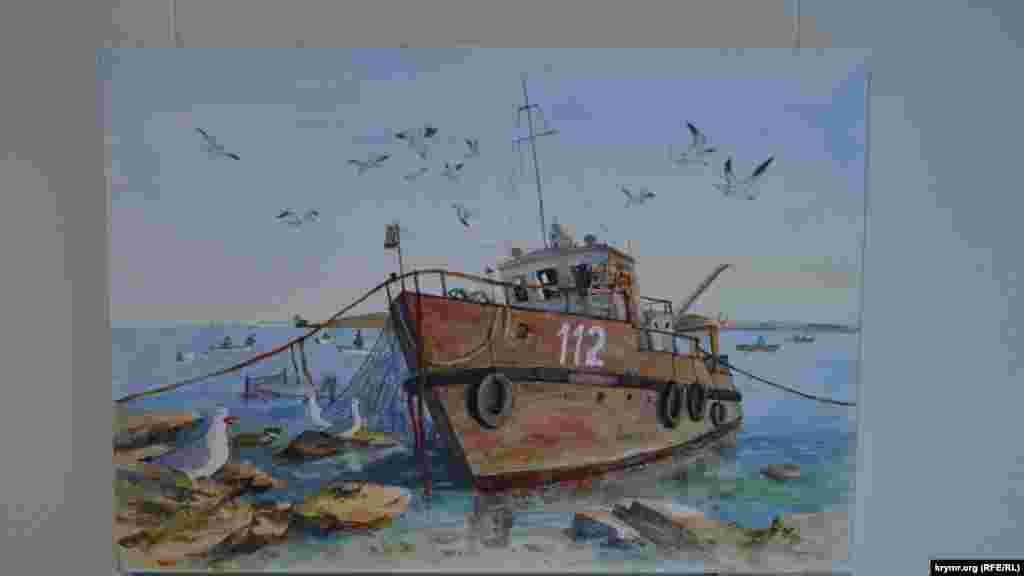 Картина Сергія Меркулова «Ржавеющий катер»