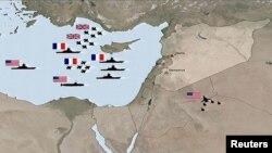 نقاطی جنگندههای بریتانیا، فرانسه و آمریکا در اقدام مشترک بامداد شنبه، از آنها به سوریه حمله کردند.