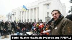 Міхеїл Саакашвілі біля Верховної Ради України, Київ, 6 грудня 2017 року