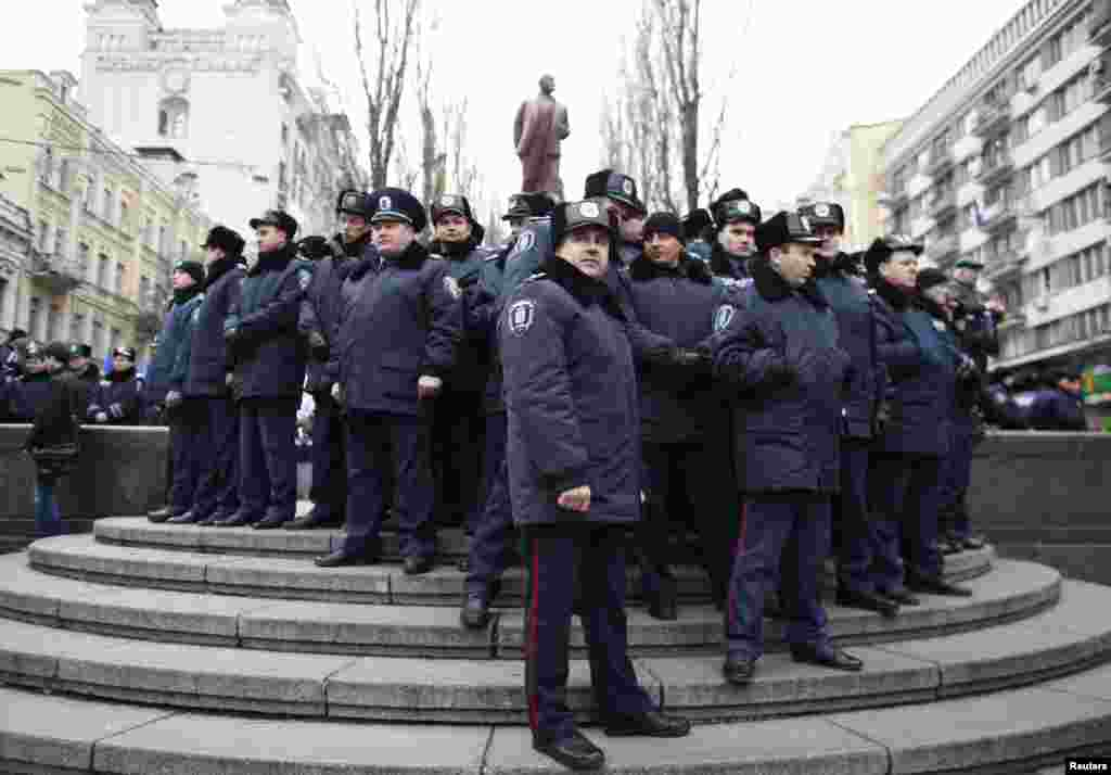 Interior Ministry officers gather during the rally held by supporters of EU integration in Kyiv.