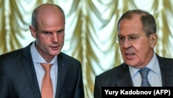 Міністр закордонних справ Нідерландів Стеф Блок на зустрічі з міністром закордонних справ Росії Сергієм Лавровим 13 квітня 2018 року