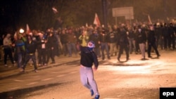 Варшавадағы Польшаның тәуелсіздігіне арналған марштағы тәртіпсіздіктер. 11 қараша 2014 жыл.