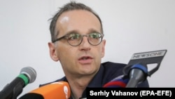 German Foreign Minister Heiko Maas speaks during a joint press conference with his Ukrainian counterpart in the eastern Ukrainian city of Mariupol on May 31.