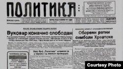 Jedna od naslovnih strana u vreme rata u Hrvatskoj, umetnički rad Vladimira Miladinovića