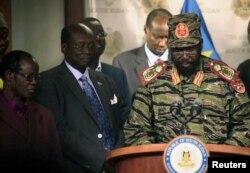 Президент Южного Судана Сальваторе Киир на пресс-конференции 16 декабря