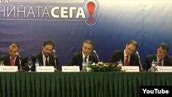 Опозициските лидери го потпишува договорот за коалиција. Стојанче Ангелов (Достоинство), Љубчо Георгиевски (ВМРО-НП), Бранко Црвенковски (СДСМ), Андреј Жерновски (ЛДП), Раде Милососки (ОМ). Хотел Холидеј Ин Скопје.
