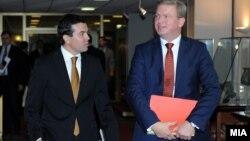 Eврокомесарот за проширување Штефан Фуле се сретна со министерот за надворешни работи Никола Попоски во Скопје на 17 септември 2012.